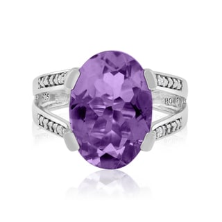 5 1/2 Carat Oval Shape Amethyst and Diamond Ring In Sterling Silver