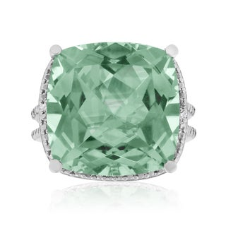 12 Carat Split Shank Green Amethyst and Diamond Accent Ring