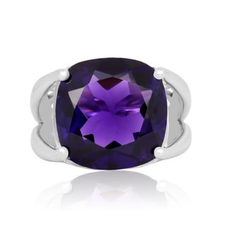 12 Carat Cushion Cut Amethyst Ring In Sterling Silver