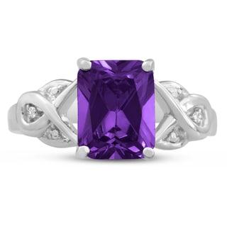 2 3/4 Carat Emerald Shape Amethyst and Diamond Ring