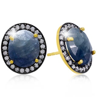 20 Carat Natural Aqua Sapphire And CZ Earrings In 18 Karat Gold Over Silver
