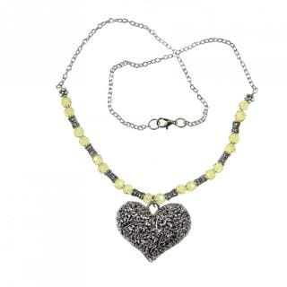 Handmade Tibetan Silver Filigreed Heart Necklace (China)