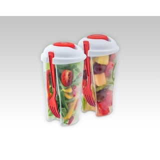 Red Salad-to-Go Container (Set of 2)