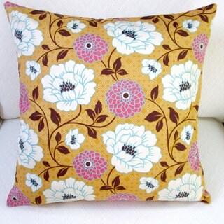 Artisan Pillows Indoor 20-inch Bungalow Dahlia in Honey Orange Flowers Modern Accent Throw Pillow