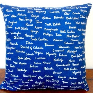 artisan pillows 20inch all the united states canvas in navy blue modern accent throw