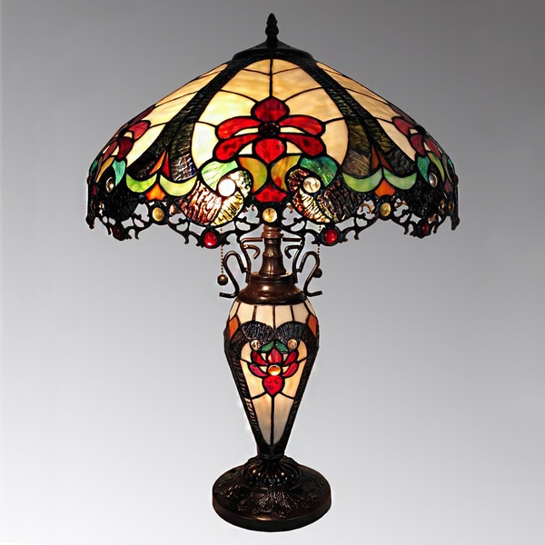 Nicole 3 Light Tiffany Style 16 Inch Double Lit Table Lamp