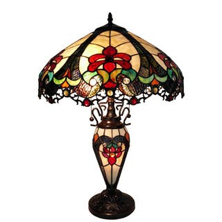 Red table lamps for less overstock nicole 3 light tiffany style 16 inch double lit table lamp mozeypictures