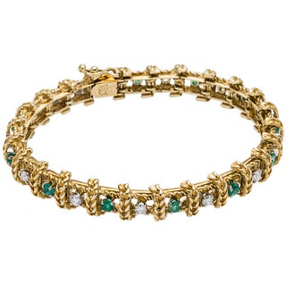 14k Yellow Gold 1 1/4ct TDW Diamond and Emerald Sequence Link Estate Bracelet (G-H, VS1-VS2)