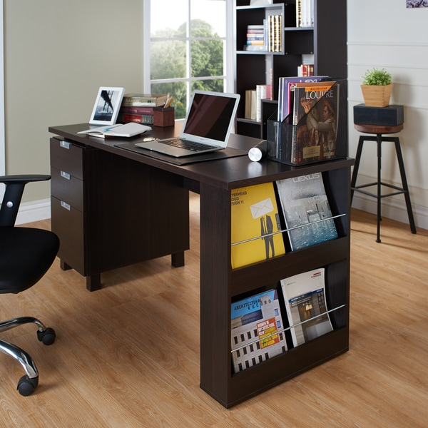 Furniture of America Tuston Espresso Office Desk with Built-in File Cabinet