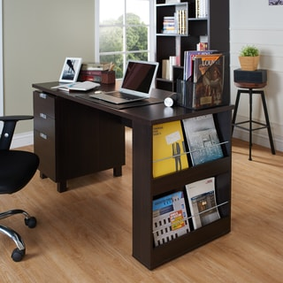 Furniture Of America Tuston Espresso Office Desk With Built In File Cabinet