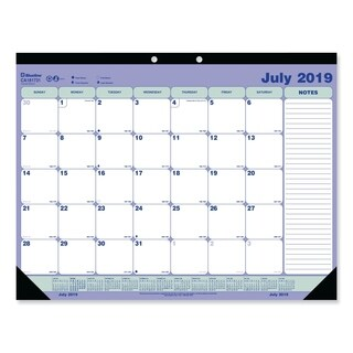 Blueline Academic Desk Pad Calendar, 21 1/4 x 16, White/Blue/Green, 2017-2018