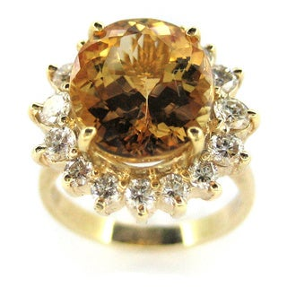 Kabella Luxe 14k Yellow Gold Imperial Topaz 1ct TDW Diamond Cocktail Ring (G-H, SI1-SI2)