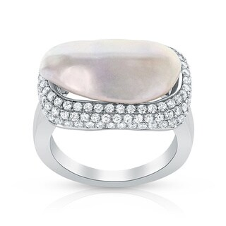 Radiance Pearl Sterling Silver White Mother of Pearl and Cubic Zirconia Ring