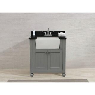 Legion Furniture 30-inch bathroom vanity in Grey with black granite top