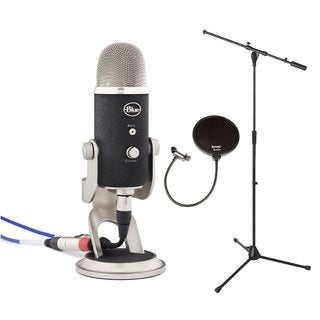 Blue Microphones YETIPRO Yeti Pro USB Microphone + Euro Boom Microphone Stand (Black) + Pop Filter