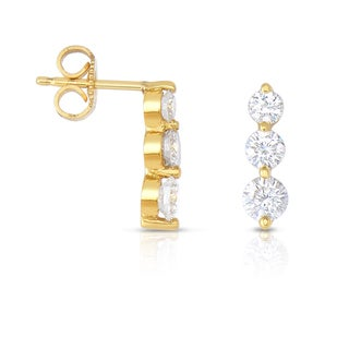 Eloquence 18k Yellow Gold 1ct TDW Diamond Dangling Earrings (H-!, SI1-SI2)