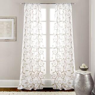 Amrapur Overseas Leaf Swirl Embroidered Curtain Panel Pair - 37 x 84