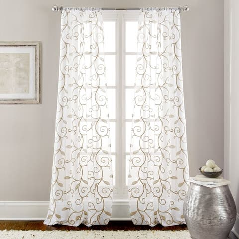 Modern Threads Leaf Swirl Embroidered Curtain Panel Pair - 37 x 84