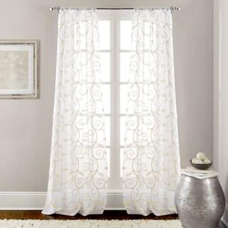 Amrapur Overseas Leaf Swirl Embroidered Curtain Panel Pair - 37 x 84 (Option: Ivory)