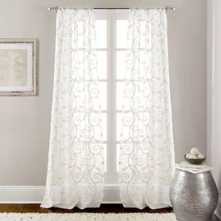 amrapur overseas leaf swirl embroidered curtain panel pair 37 x 84 - White Sheer Curtains