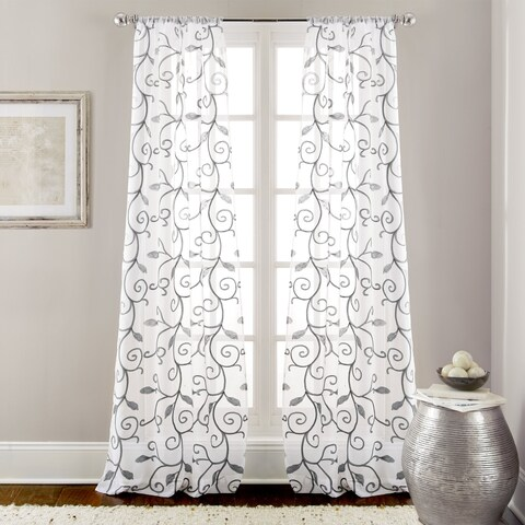 Amrapur Overseas Leaf Swirl Embroidered Curtain Panel Pair - 37 x 84