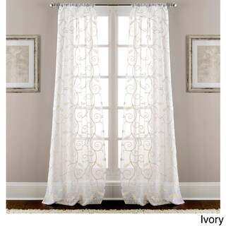 Amraupur Overseas Leaf Swirl Embroidered Curtain Panel Pair - 37 x 84 (4 options available)