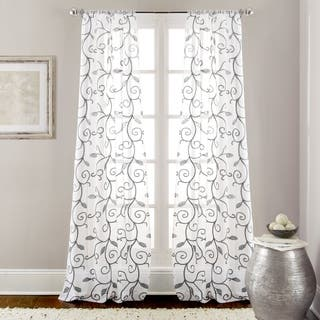Amraupur Overseas Leaf Swirl Embroidered Curtain Panel Pair - 37 x 84|https://ak1.ostkcdn.com/images/products/10473921/P17563722.jpg?impolicy=medium
