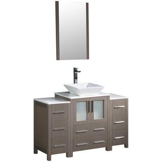 Fresca Torino 48-inch Grey Oak Modern Bathroom Vanity w/ 2 Side Cabinets & Vessel Sink