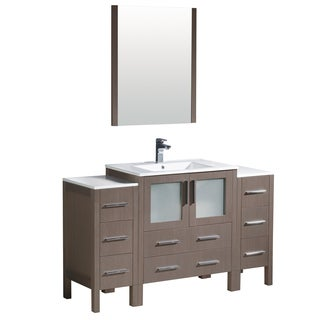 Fresca Torino 54-inch Grey Oak Modern Bathroom Vanity with 2 Side Cabinets & Integrated Sink