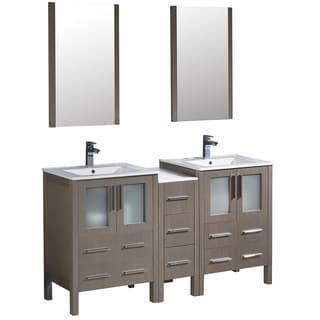 Fresca Torino 60-inch Grey Oak Modern Double Sink Bathroom Vanity with Side Cabinet & Integrated Sinks