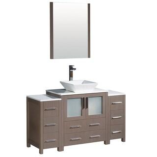 Fresca Torino 54-inch Grey Oak Modern Bathroom Vanity with 2 Side Cabinets & Vessel Sink