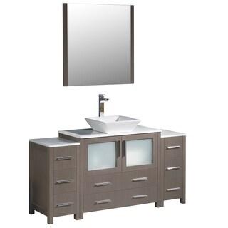 Fresca Torino 60-inch Grey Oak Modern Bathroom Vanity w/ 2 Side Cabinets & Vessel Sink