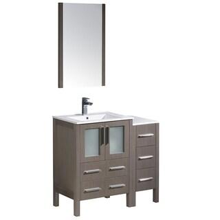 Fresca Torino 36-inch Grey Oak Modern Bathroom Vanity with Side Cabinet & Integrated Sinks