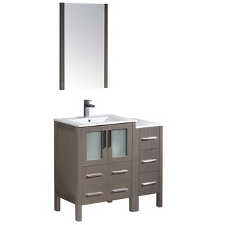 Fresca Torino 36-inch Grey Oak Modern Bathroom Vanity with Side Cabinet & Integrated Sinks
