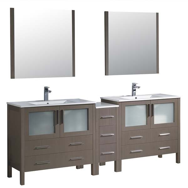 84 inch grey oak modern double sink bathroom vanity with side cabinet