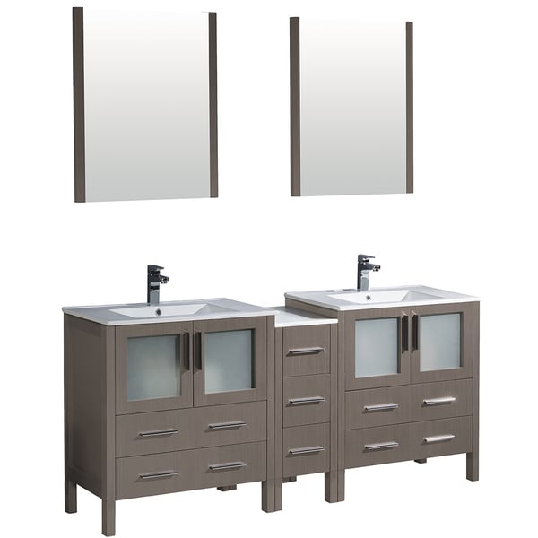 Shop fresca torino 72 inch grey oak modern double sink bathroom vanity w side cabinet for 72 inch bathroom vanity double sink