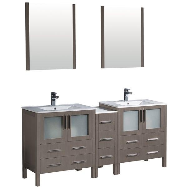 Fresca Torino 72 Inch Grey Oak Modern Double Sink Bathroom Vanity W/ Side  Cabinet U0026 Integrated Sinks