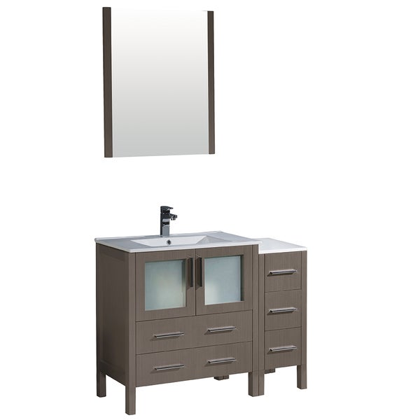grey oak modern bathroom vanity with side cabinet integrated sink