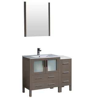 Fresca Torino 42-inch Grey Oak Modern Bathroom Vanity with Side Cabinet & Integrated Sink