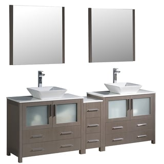 Fresca Torino 84-inch Grey Oak Modern Double Sink Bathroom Vanity with Side Cabinet and Vessel Sinks