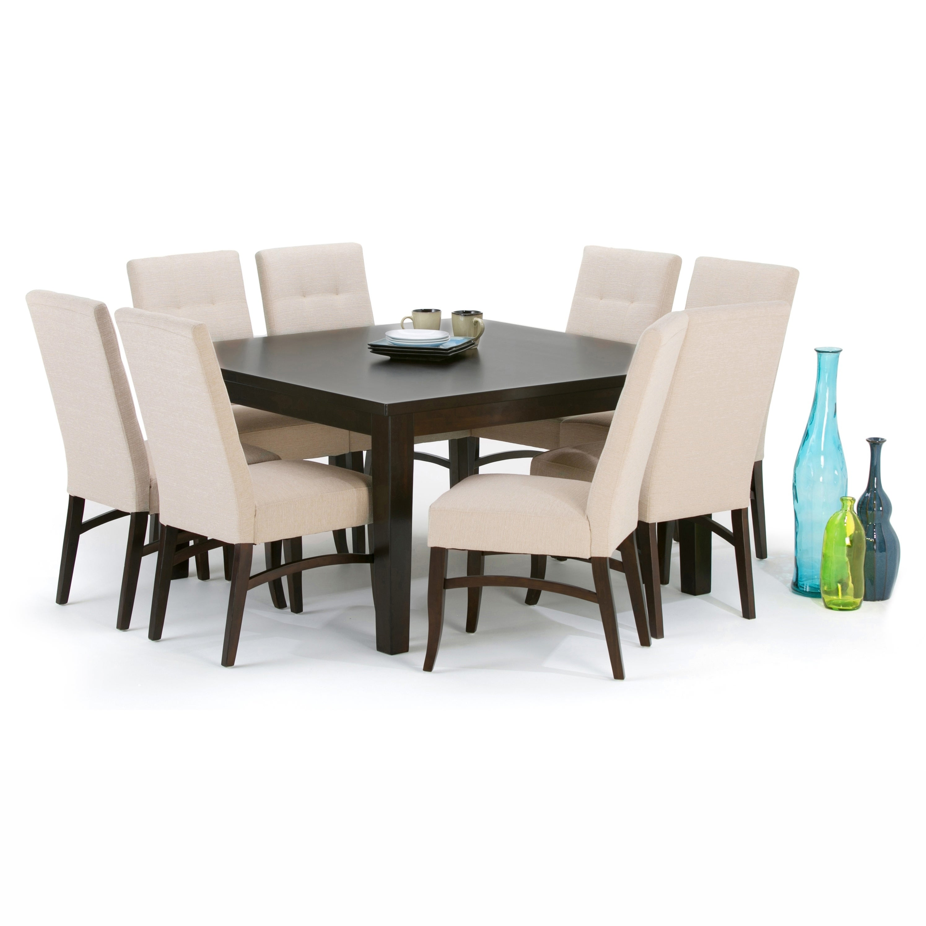 WYNDENHALL Colburn Solid Hardwood and Rubberwood 54 inch x 54 inch Square  Contemporary Dining Table in Java Brown