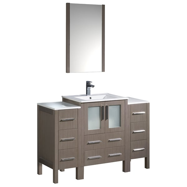 Fresca Torino 48 Inch Grey Oak Modern Bathroom Vanity With 2 Side Cabinets And Integrated Sink