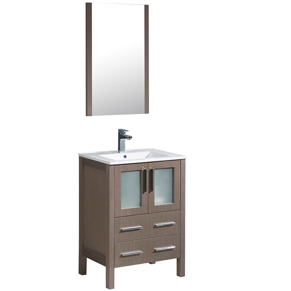 Shop fresca torino 24 inch grey oak modern bathroom vanity with integrated sink free shipping for Freestanding 24 inch bathroom vanity