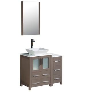 """Fresca Torino 36"""" Gray Oak Modern Bathroom Vanity w/ Side Cabinet & Vessel Sink"""