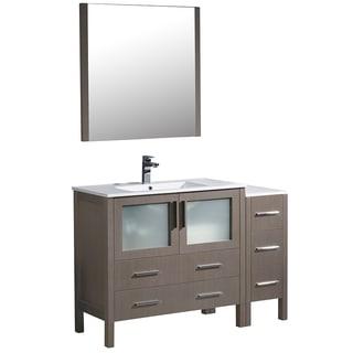 Fresca Torino 48-inch Grey Oak Modern Bathroom Vanity with Side Cabinet & Integrated Sink