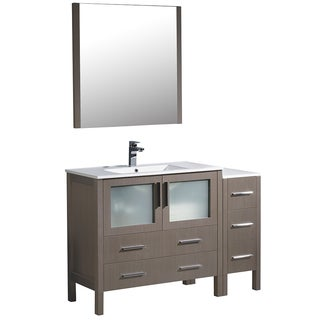 Fresca Torino 48-inch Grey Oak Modern Bathroom Vanity with Side Cabinet & Integrated Sink