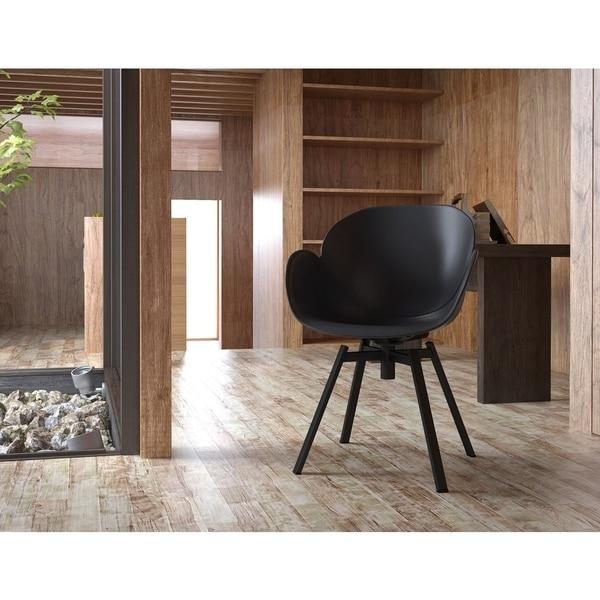 Shop Modern Black 360 Degree Swivel Accent Chair Set Of 2