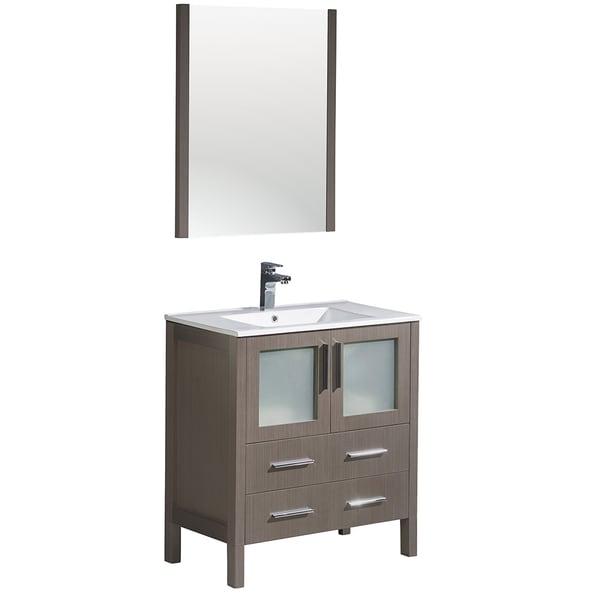 Shop Fresca Torino 30 Inch Grey Oak Modern Bathroom Vanity With Integrated Sink Free Shipping