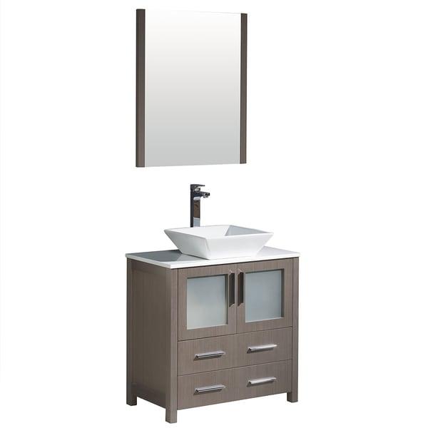 Shop Fresca Torino 30 Inch Grey Oak Modern Bathroom Vanity With Vessel Sink Free Shipping