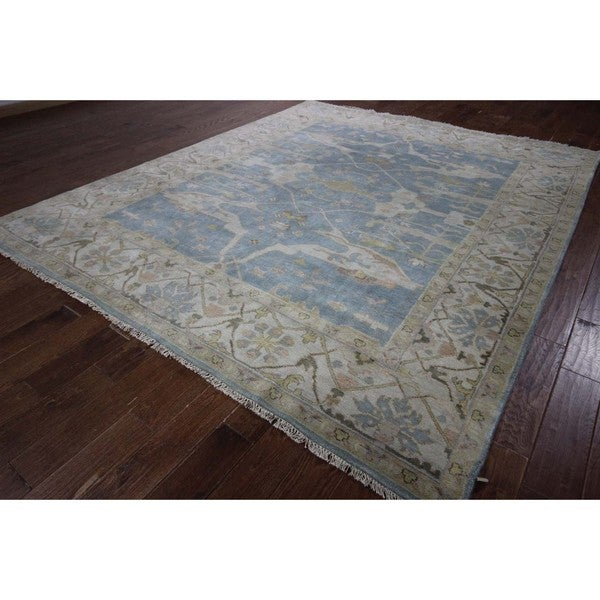 Blue and Ivory Oriental Oushak Hand-knotted Wool Floral Area Rug (8' x 10')